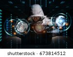 hacker accessing to personal... | Shutterstock . vector #673814512