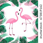 cute exotic tropical background ... | Shutterstock .eps vector #673819162