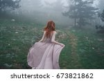 woman in the forest  fog       ...   Shutterstock . vector #673821862