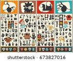 big set of cute monsters .... | Shutterstock .eps vector #673827016