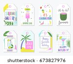bright summer gift tags and... | Shutterstock .eps vector #673827976