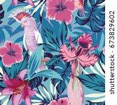 pink parrot tropical flowers... | Shutterstock .eps vector #673829602