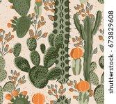 green vector succulent cactus... | Shutterstock .eps vector #673829608