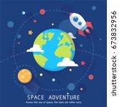 Space Adventure Banner. Cartoo...