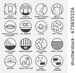 skin icon vector set   tooth... | Shutterstock .eps vector #673835326