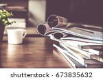 selective focus of the stacking ... | Shutterstock . vector #673835632