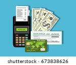 pos machine  card  money and... | Shutterstock .eps vector #673838626
