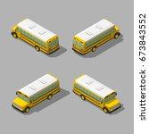 yellow isometric 3d school bus. ... | Shutterstock .eps vector #673843552
