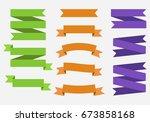 vector banner ribbons. set of... | Shutterstock .eps vector #673858168