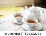 afternoon tea | Shutterstock . vector #673862188