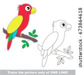 funny parrot to be traced only... | Shutterstock .eps vector #673864618