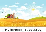 rural scene with the farm ... | Shutterstock .eps vector #673866592
