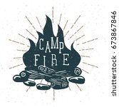 hand drawn campfire with... | Shutterstock .eps vector #673867846