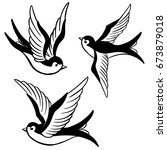 set of the swallow icons.... | Shutterstock . vector #673879018