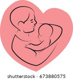 father holding a baby with her... | Shutterstock .eps vector #673880575