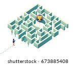 man try to get award cup in... | Shutterstock .eps vector #673885408