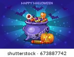 cartoon pot with candy  set... | Shutterstock .eps vector #673887742