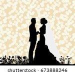 vector silhouette of the bride... | Shutterstock .eps vector #673888246