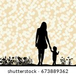 vector silhouette of mom and... | Shutterstock .eps vector #673889362