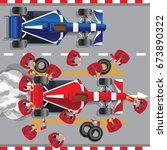 maintenance of a racing car.... | Shutterstock .eps vector #673890322