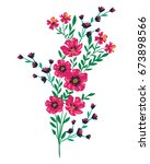 flowers embroidery patch | Shutterstock .eps vector #673898566