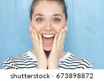 close up portrait of female... | Shutterstock . vector #673898872