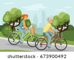 elderly and young women on... | Shutterstock .eps vector #673900492