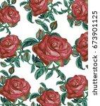 vintage velvet roses   Shutterstock . vector #673901125