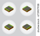 isometric way set of down ... | Shutterstock .eps vector #673907938