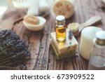 natural spa products and decor... | Shutterstock . vector #673909522