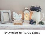 shabby chic interior decor for... | Shutterstock . vector #673912888