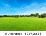 green field and blue sky | Shutterstock . vector #673916695