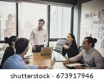 businessman standind for... | Shutterstock . vector #673917946