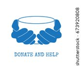 donate and help logo. hungry... | Shutterstock .eps vector #673920808