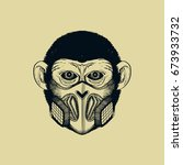 vector illustration of a monkey ... | Shutterstock .eps vector #673933732