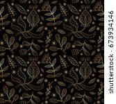 floral seamless gold texture ... | Shutterstock .eps vector #673934146