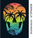 beach print with skull... | Shutterstock .eps vector #673946608