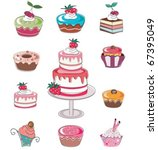 cute seamless set of cup cakes. | Shutterstock .eps vector #67395049