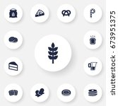 set of 13 pastry icons set... | Shutterstock .eps vector #673951375