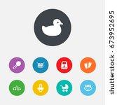 set of 9 kid icons set... | Shutterstock .eps vector #673952695