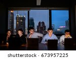 three businessman and two... | Shutterstock . vector #673957225