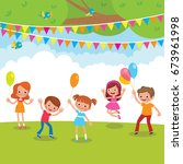 group of children playing with... | Shutterstock .eps vector #673961998
