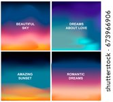 set of four blurred backgrounds.... | Shutterstock .eps vector #673966906
