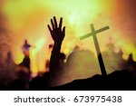 christian music concert with... | Shutterstock . vector #673975438