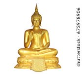 golden buddha isolated on white ... | Shutterstock . vector #673978906