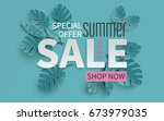 summer sale banner with paper... | Shutterstock .eps vector #673979035