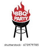 bbq party. hand drawn...