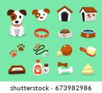 Stock vector cartoon character jack russell terrier dog and accessories set 673982986