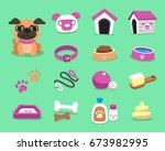 cartoon pug dog and accessories ... | Shutterstock .eps vector #673982995
