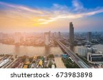 city aerial view river curved... | Shutterstock . vector #673983898